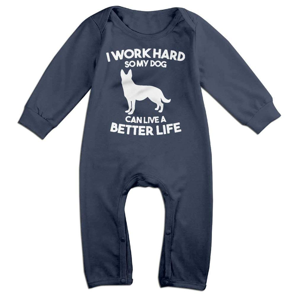 TYLER DEAN Toddler Baby Boy Girl Organic Coverall I Work Hard So My Dog Can Have A Better Life1-1 Toddler Jumpsuit