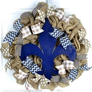 Fleur de Lis Burlap Door Wreath; Navy Blue White 115