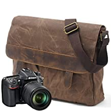 Camera Insert Bag,Waterproof Wax Canvas with Crazy Horse Leather Trim Men Shoulder Messenger Carema Bag Fit DSLR SLR For Canon Sony Nikon Olympus And Other Objects Coffee