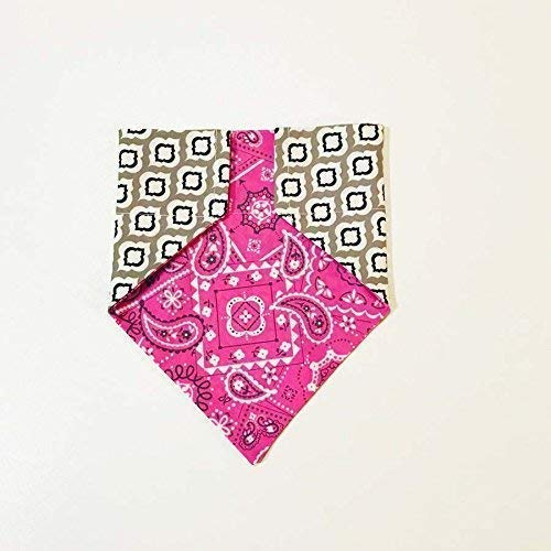 Pink Paisley Reversible Pattern Dog Bandana No-Tie