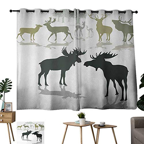 Grommet Waterproof Window Curtain Antlers Elk Deer and Fawn Silhouette Forest at The Background World Natural Heritage Theme Green Black Thermal Insulated Room Darkening Window Shade W55 xL63
