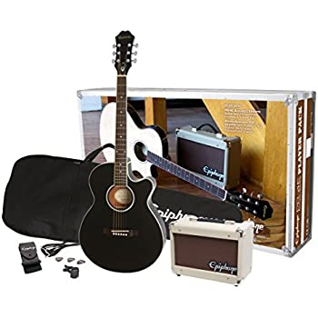epiphone ppgr eep4ebch3 us pr 4e player pack jumbo acoustic guitar pack ebony. Black Bedroom Furniture Sets. Home Design Ideas