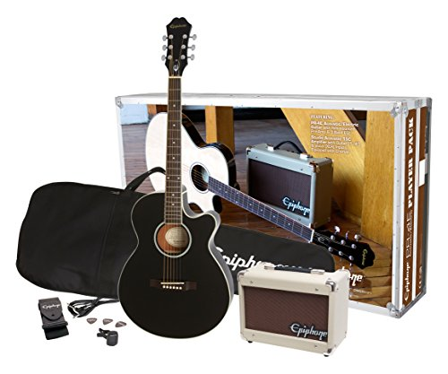 Epiphone PPGR-EEP4EBCH3-US PR-4E Player Pack Jumbo Acoustic Guitar Pack, Ebony (Epiphone Acoustic Electric)