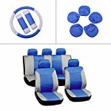 seat covers for 1987 corvette - SCITOO Universal Blue/Gray Car Seat Cover w/Headrest/Steering Wheel/Shoulder Pads 12Pcs Breathable Embossed Cloth Retractable