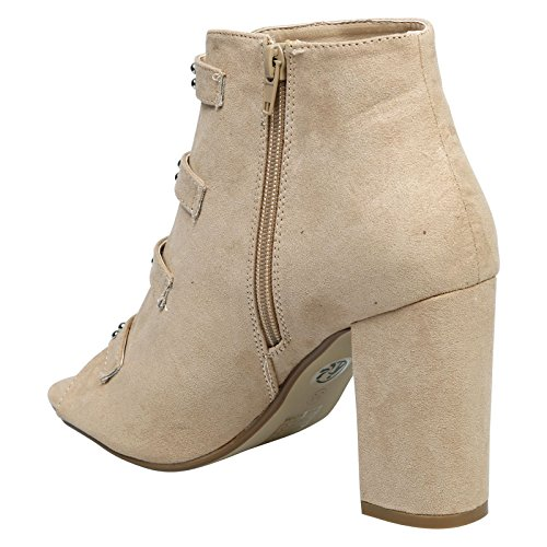 Nami Heel Suede Womens Block Ankle Nude High Boots Buckled First Fashion Faux Peep Feet Toe wgqx6YET