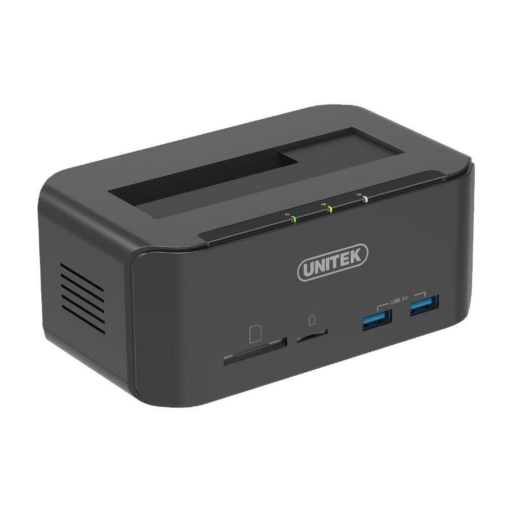 UNITEK Tool Free USB 3.0 to SATA External Hard Drive Docking Station with 2-Port Hub and Card Reader for 2.5 & 3.5 Inch HDD SSD SATA I/II/III, Support UASP & 10TB