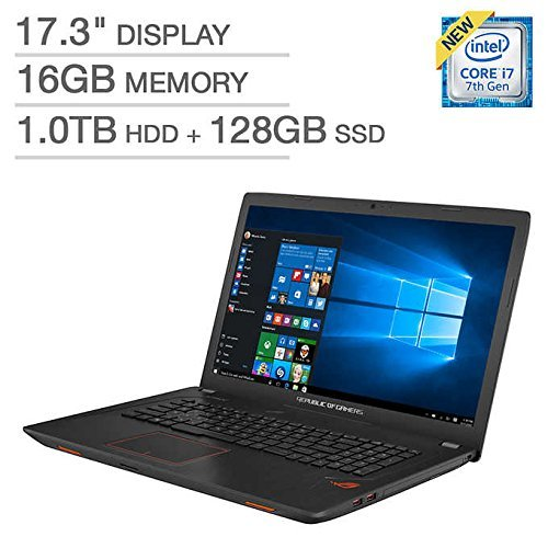 ASUS ROG GL753VE Gaming Laptop 17.3in FHD (1920 x 1080) Glossy Display Intel 7th Gen i7-7700HQ 16GB RAM 1TB HDD + 128GB SSD 4GB NVIDIA GeForce GTX 1050Ti Graphics Metalic ()