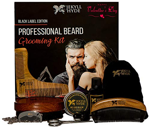 Professional Beard Grooming Kit For Men – Hand Made – Organic – Scissors – Beard Oil Leave In Conditioner – Beard Balm Wax – Beard Combs – Beard Brush – Oil For Styling and Growth