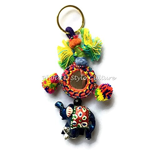 Stylo Culture Hand Knitted Bohemian Cute Keychain For Mom From Daughter Indian Multicolored Mirror, Pom Pom Balls, Elephant & Beads Gift Silk Thread Cute Keychain For Sale