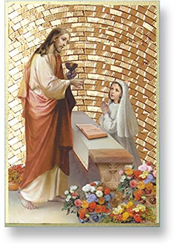First Communion Girls Italian Gold-Leaf Mosaic Wall Plaque, 6 Inch