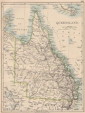 Ghana Karte.Amazon De Queensland State Karte Brisbane Gold Coast