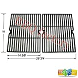 bbq factory® JGX502 Porcelain Cast Iron Cooking Grid Grate Replacement for Select Gas Grill Models by Ducane, Grill Chef and Others, Set of 2