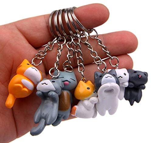 Astra Gourmet Cat Keychains - 6 Collectable Figurines - Features a Detachable Keyring - Authentic Japanese Design - Durable -