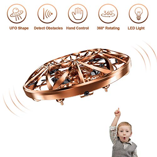 Hand Operated Drones for Kids,Hands Free Mini Drone Flying Ball Toys for Kids,Gift for Boy or Girl(Gold) (Best Air Hogs Helicopter 2019)