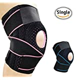 AOLIKES Knee Brace Support for Meniscus Tear,Arthritis,ACL,LCL,MCL Injury Recovery,Running,Cycling,Basketball with Patella Stabilizer for Men Women(Pink)