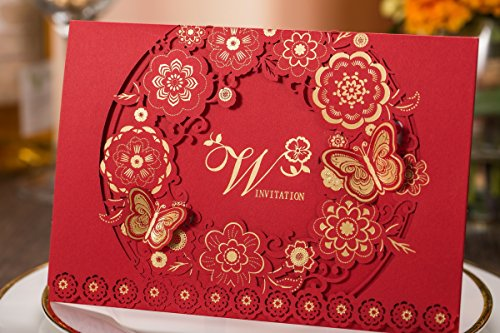 Tennove 50PCS Invitation Cards Laser Cut Red Wedding Party Invitations Cards with Lace for Wedding Engagement Party