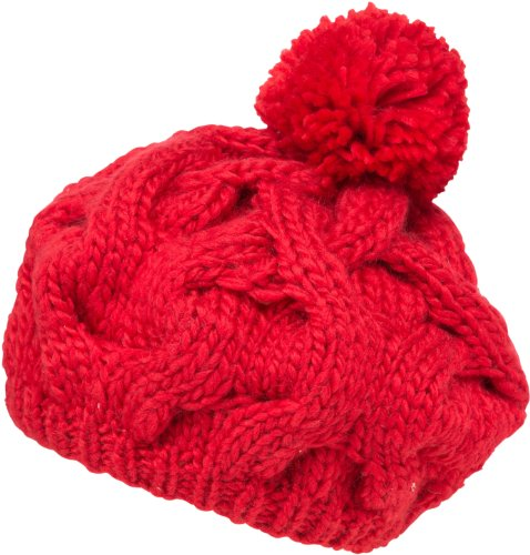 Sakkas 3031NB Cable Knit Pom Pom Thick Slouch Hat - Red - One Size