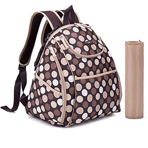 Centro de la mujer mochila pañal pañales bolsas 3piezas Mochila lunares 5colores blue dot Talla:mediano brown dot