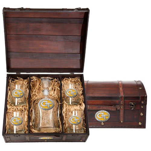 Georgia Tech Yellow Jackets Capitol Decanter Wood Chest Set by Heritage Pewter