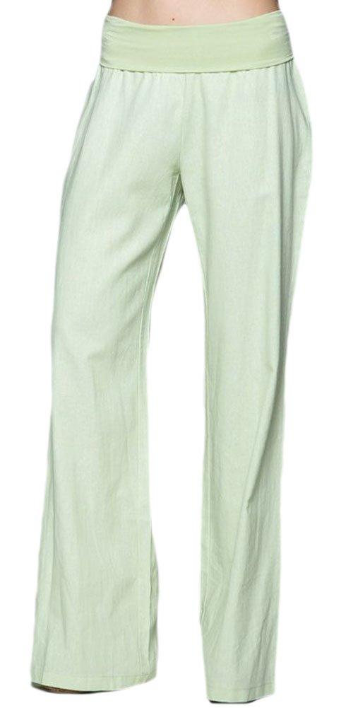 Love Tree Women's Fold-Over Waist Linen Pants, Mint, Small