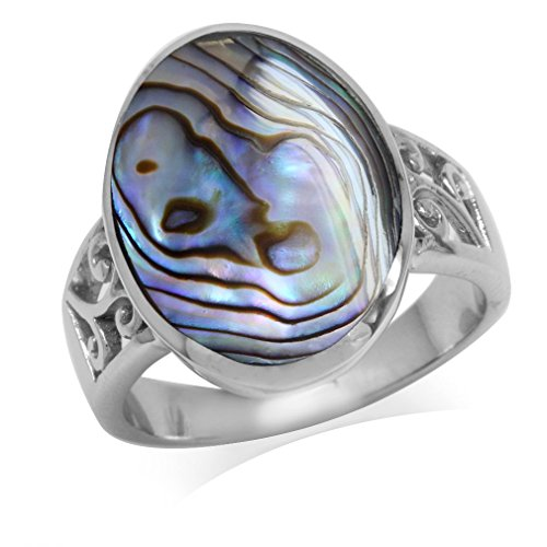 Abalone/Paua Shell Inlay White Gold Plated 925 Sterling Silver Filigree