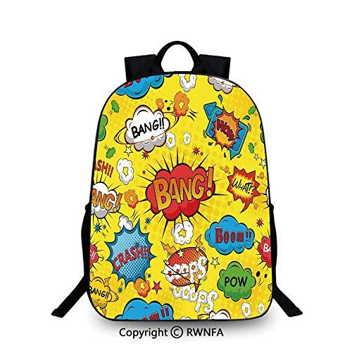 Backpack for Kids,Humor Speech Bubbles Funky Vivid Bang Boom Bam Pow  Fiction Symbols Artful Design School Backpacks for Boys Multicolor
