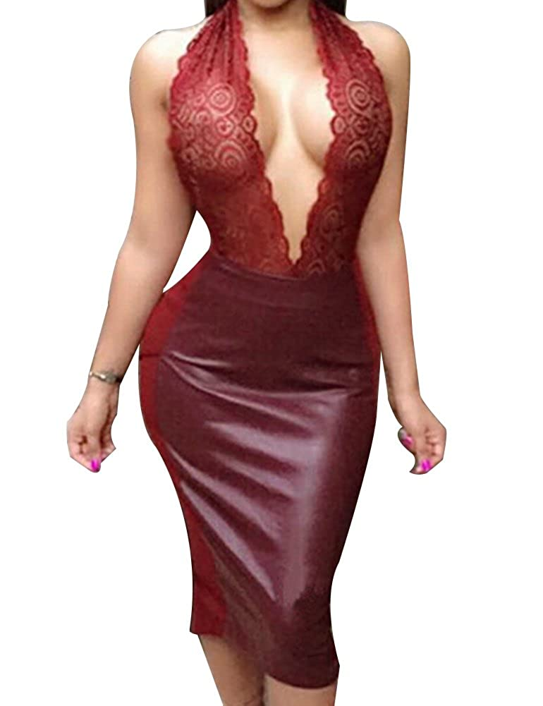 2a0f659ac8 Allegrace Women Sexy Luxury Lace Halter Neck Banquet Cocktail Prom Party  Dresses AG122