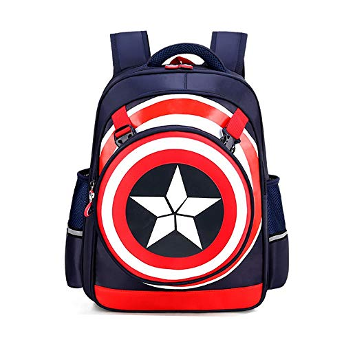 TIMSOPHIA Boy's School America Captain Backpack, 3D Super Hero Bags Comic Fans Waterproof Student Backpack with Detachable Shield Bag(Dblue,L)