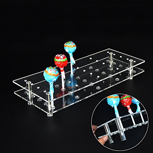 (MENGCORE 25 Hole Acrylic Cake Pop Lollipop Display Stand Holder for Weddings Baby Showers Birthday Parties Anniversaries Halloween Candy Decorative (25)