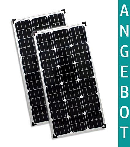 Doppelpack 80W Watt Solarmodule Monokristallin 12V - Volt TÜV zertifiziert - Solarpanel - Solar - Camping - solarXXL