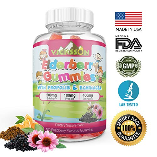Vicksson Sambucus Elderberry Gummies with Propolis & Echinacea + Vitamin C Immune System Booster for Kids & Adults. Vegan Friendly | Raspberry Flavored. 100 Count