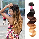 (US) Sunber Ombre Brazilian Hair Bundles Body Wave 10A Grade Human Virgin Hair One Bundles 3 Tone 1b/4/27 Color Hair Extensions (T1B/4/27,16inch)