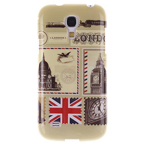 Samsung Galaxy S4 Mini/9190 Funda,Ligero a Prueba de Choques Flexible Ultra Fino Suave TPU Parachoque Carcasa MAGQI Tecnología IMD Diseño Impreso Vendimia Serie Patrón [Absorción de Impacto] Resistent Sobre de Londres
