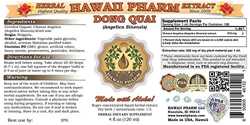 Dong Quai Liquid Extract, Organic Chinese Angelica (Angelica sinensis) Dried Root Tincture Supplement 32 oz Unfiltered by HawaiiPharm (Image #1)