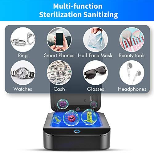 RioRand UV Ultraviolet Smartphone Sterilizer Box,Multi-Function Sterilization Sanitizing with Aromatherapy for Cellphone Jewelry Watches