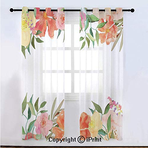 Floral Semi Sheer Voile Window Curtain With Drapes Grommet,Flower Petals Soft Pastel Toned Bouquet Blooms Shabby Chic Elegance Feminine Motif,for Bedroom,Living Room & Kids Room(108