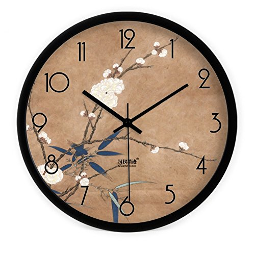 HOMEE Creative Painting Chinese Bamboo Wall Clock/Modern Living Room Bedroom Quiet Quartz Clock ,B,16Inch by HOMEE
