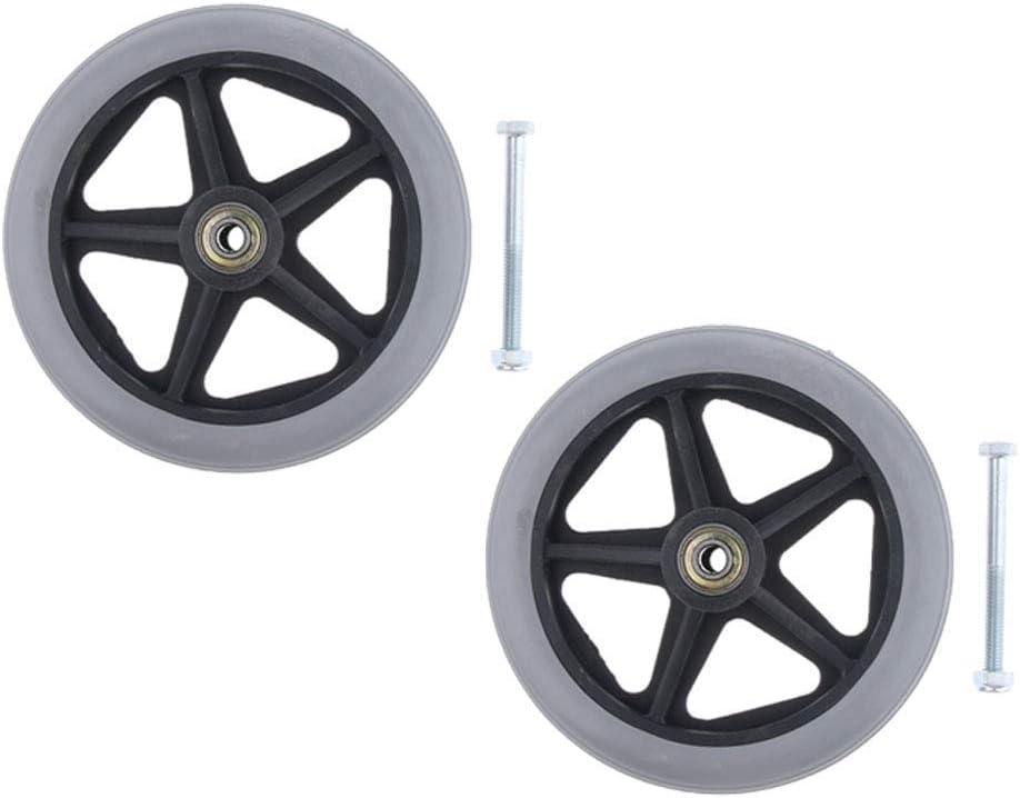 Ruedas de repuesto para silla de ruedas delantera, 2 unidades, resistentes y antideslizantes Rodamiento de 5/16 pulgadas y diámetro total 6 pulgadas AOD