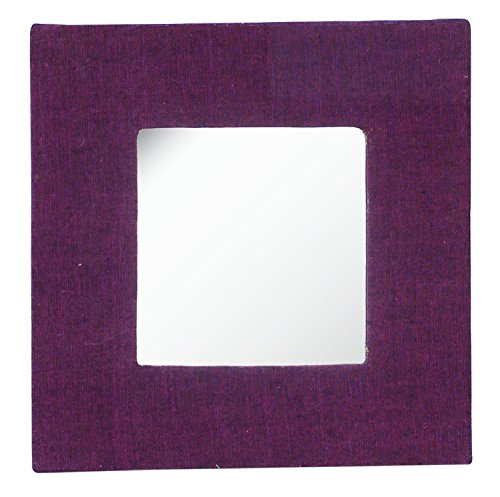 SouvNear Jute Mirror - Handmade Wall-Mounted Mirror / Seeing Glass in Purple Color - Framed in Hand-Woven Hard Board - Square-Shaped Decorative - Framed Purple Mirror