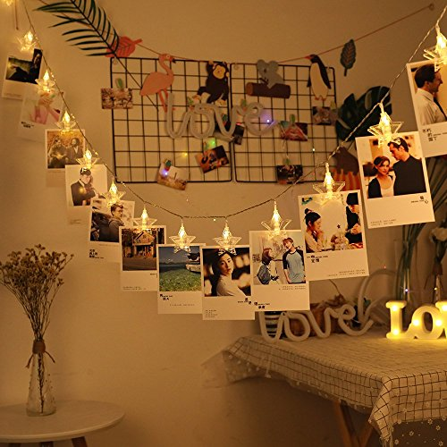 Arols 40 LEDs Photo Clips String Light Holder 19.6ft USB and 3AA Battery Powered Starry Fairy Lights Ideal for Birthday Festival Anniversary Atmosphere Decoration Hanging Photos (warm white pentagram) (Christmas Card String Holder Light)