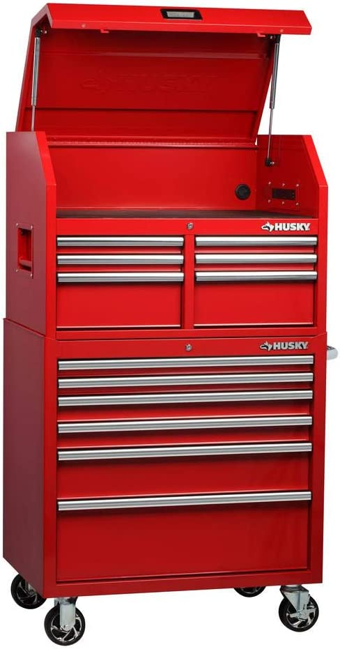Amazon Com Husky H4ch1r 36 In 12 Drawer Tool Chest And Cabinet Combo In Red Electronics