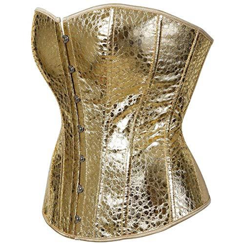 Leather Corsets for Women Sexy Zipper Gothic Lingerie Bustier Top Punk Rock Plus Size Waist Cincher Gold S]()
