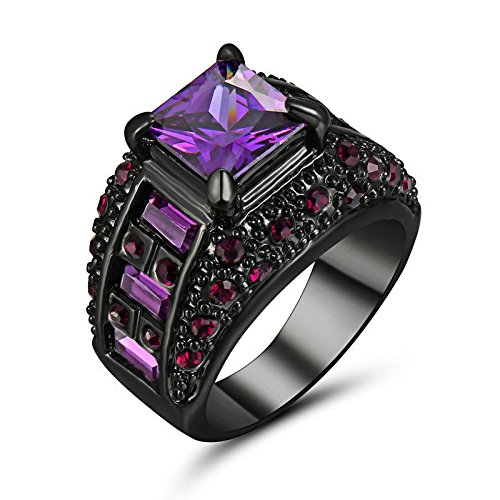 Phonphisai shop 5.90/ct Purple Amethyst Engagement Ring Size 8 10KT Black Gold Filled Jewelry