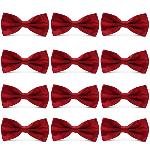 AVANTMEN Men's Bowties Formal Satin Solid - 12 Pack Bow Ties Pre-tied Adjustable Ties for Men Many Colors Option ()