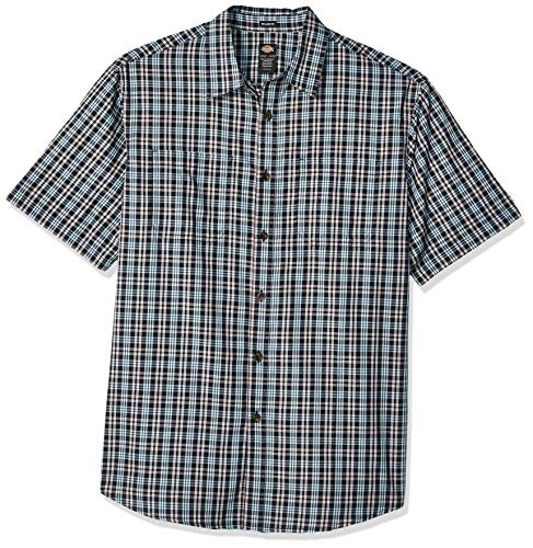Dickies Men's Yarn Dyed Plaid Short Sleeve Shirt Big-Tall, Rinsed Dark Navy, 5T