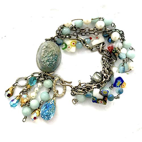 Sterling Silver, Millefiori Venetian Glass, Freshwater Pearls, Blue Chalcedony, Druzy, Beaded Bracelet with Swarovski Crystals ()
