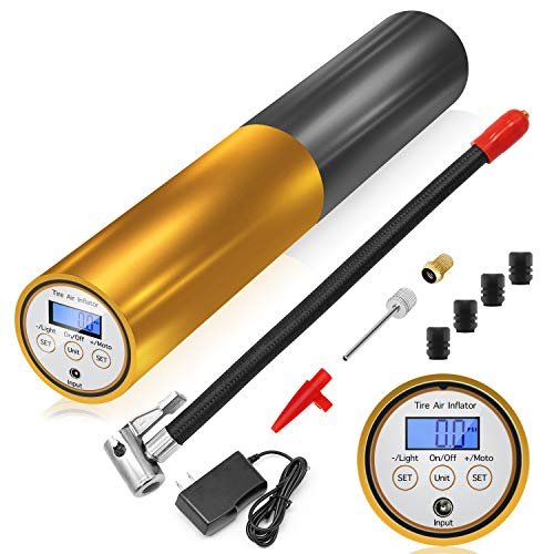 AUTDER Portable Tire Inflator Air Compressor Pump Rechargeable 3000mAh 12V 120PSI Auto Preset-Stop Mini Hand Held Lithium Battery with Digital LCD, Flashlight