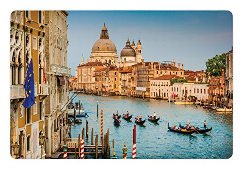 (Lunarable Wanderlust Pet Mat for Food and Water, Gondolas on The Canal Grande with Sunset in Venice City Romantic View Image Print, Non-Slip Rubber Mat for Dogs and Cats, 18