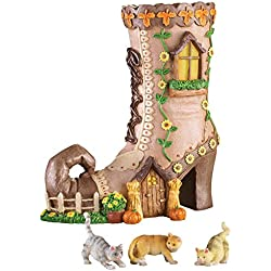 Victorian Shoe With Cats Garden Decoration, Brown
