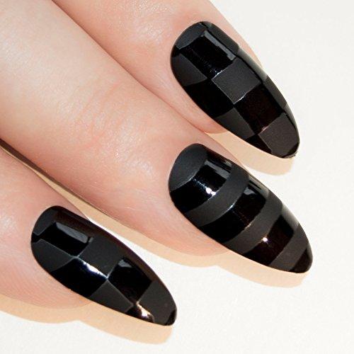 Bling Art Almond False Nails Fake Stiletto Black Matte Justice 24 Long Tips - Designer Uk Discount